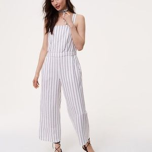 Loft striped jumpsuit in white and navy